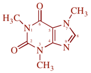 caffeine = 1,3,7–trimethylxanthine